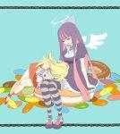 angel angel_wings blonde_hair bow candy closed_eyes dessert donut doughnut dress food hair_bow halo hand_on_head honekoneko_(psg) ikuji-san jewelry lap_pillow lying mako_(ikuji-san) multicolored_hair multiple_girls panty_&_stocking_with_garterbelt panty_(character) panty_(psg) siblings sisters sitting sleeping stocking_(character) stocking_(psg) striped striped_legwear striped_thighhighs sweets thighhighs two-tone_hair wings