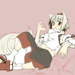 animal_ears armpits bare_shoulders blush detached_sleeves face fanning geta hat inubashiri_momiji lying midriff navel on_back red_eyes short_hair silver_hair sketch skirt solo sweat tabi tail tokin_hat touhou white_hair wolf_ears wolf_tail yudepii yuderupii