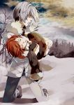 bettyannnewaters brown_dress brown_hair carrying closed_eyes cloudy_sky dress eyes_closed forest jacket kneeling last_order nature open_mouth pants short_hair silver_hair snow to_aru_majutsu_no_index winter winter_clothes