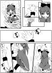 bruise chibi climbing high_res injury long_hair magical_girl mahou_shoujo_madoka_magica monochrome ponytail sakura_kyouko tower translation_request uri92