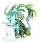 1boy animal final_fantasy final_fantasy_xi fujiwara_akina green_hair pointy_ears short_hair simple_background solo staff tarutaru violet_eyes wand