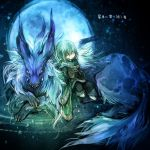 animal dark_background demon final_fantasy final_fantasy_xi fox fujiwara_akina green_hair moon pointy_ears short_hair tarutaru