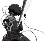 afro afro_samurai afro_samurai_(character) highres katana male monochrome official_art solo sword weapon