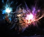 dark_background final_fantasy final_fantasy_xi fujiwara_akina hat pointy_ears short_hair staff tarutaru wand witch_hat