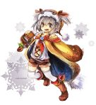 belt boots fujiwara_akina grey_eyes grey_hair hat highres ribbon short_twintails shorts thigh-highs twintails