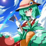 ascot breasts carrot food fruit gloves green_hair hat highres hoe kazami_yuuka large_breasts oborotsuki_kakeru plaid plaid_skirt plaid_vest rainbow red_eyes short_hair skirt skirt_set sky solo straw_hat tomato touhou watermelon worktool