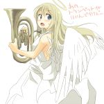 blonde_hair blue_eyes blush check_translation dress face halo instrument long_hair looking_back open_mouth original sketch sleeveless solo sweatdrop translated tuba wings yudepii yuderupii