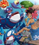 1girl anklet banana banette barefoot blue_eyes brown_eyes brown_hair castform dark_skin dock feet flower food fruit fuyou_(pokemon) gorebyss hair_flower hair_ornament jewelry kyogre luvdisc mudkip pokemoa pokemon pokemon_(creature) pokemon_(game) pokemon_rse sableye sealeo sitting tropius tubetop