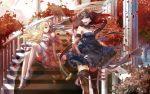 2girls blonde_hair blue_eyes dress leaves red_hair redhead stairs wings yellow_eyes zerokichi zettai_ryouiki