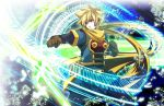 blonde_hair blue_eyes energy gloves golden_sun magic male mizuura robin_(golden_sun) scarf short_hair solo