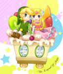 blonde_hair cake food fruit gloves hat link nintendo pointy_ears princess_zelda purple_eyes rito_(kinokosoup) smile spirit_tracks the_legend_of_zelda toon_link violet_eyes