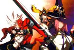 blazblue blazblue_phase_0 bloodedge breasts caelica_a._mercury caelica_a_mercury erect_nipples hair_over_one_eye hat highres huge_weapon jubei_(blazblue) konoe_a_mercury mouth_hold nine_(blazblue) pink_hair pleated_skirt ponytail prehensile_tail ragna_the_bloodedge skirt sword weapon witch_hat yellow_eyes young