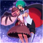 :d animal_ears antennae brown_dress cape dancing dress green_eyes green_hair hand_holding hand_on_hip hips holding_hands lgw7 multiple_girls mystia_lorelei open_mouth pink_eyes pink_hair short_hair shorts smile thigh-highs thighhighs touhou wings wriggle_nightbug
