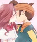 blush brown_hair closed_eyes endou_mamoru eyes_closed headband inazuma_eleven inazuma_eleven_(series) kiss long_hair mkrnsrd raimon_natsumi ribbon short_hair