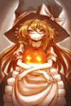 apron blonde_hair blush closed_eyes etsuwa eyes_closed halloween hat kirisame_marisa long_hair no_nose object_hug pumpkin smile solo touhou waist_apron witch witch_hat