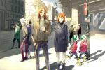 ? artist_self-insert badou_nails bandaid bishop blonde_hair blue_eyes cane cigarette city closed_eyes dogs:_bullets_&_carnage ernest_rammsteiner eyepatch eyes_closed fuyumine_naoto green_hair haine_rammsteiner hand_in_pocket headphones highres long_hair luki mihai_mihaeroff nadzomi_viro nill noki orange_hair pantyhose road_sign scarf self-portrait shade shadow short_hair siblings sign smoke smoking stop_sign street sunlight traffic_light twins white_hair wings