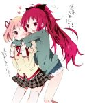 blush bow fang hair_bow hair_ribbon heart hug hug_from_behind kaname_madoka long_hair mahou_shoujo_madoka_magica multiple_girls nta_(n_tan2) open_mouth pink_eyes pink_hair ponytail red_eyes red_hair redhead ribbon sakura_kyouko school_uniform short_hair short_twintails skirt smile thighhighs translated translation_request twintails wince yuri