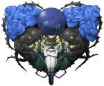 blue_rose fetus flower hat heart komeiji_koishi mazeran persona rose short_hair solo tears third_eye thorn thorns touhou transparent_background vines