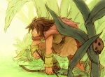 arrow bow_(weapon) brown_hair cape facepaint ghibli grass karigurashi_no_arrietty ladybug male miniboy solo spiller studio_ghibli weapon yuza