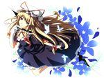 bad_id blonde_hair bow butterfly dress floral_background flower gap gloves hat itoo long_hair purple_dress purple_eyes smile solo touhou violet_eyes yakumo_yukari