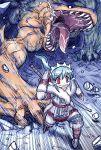 blue_hair cave heterochromia mafumofu_(armor) monster_hunter t.t tigrex
