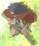 arm_warmers arrow black_hair bow_(weapon) cape dark_skin facepaint ghibli jumping karigurashi_no_arrietty male miniboy oumi560 quiver solo spiller studio_ghibli weapon