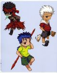 archer avenger barefoot black_(artist) black_hair blue_hair cat chibi cigarette dark_skin fate/hollow_ataraxia fate/stay_night fate_(series) full_body_tattoo gae_bolg grey_eyes headband hoodie lancer male multiple_boys polearm popsicle red_eyes shorts spear swimming_trunks takeuchi_takashi tattoo weapon white_hair