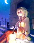 blonde_hair boots brick_wall cat crescent_moon cross-laced_footwear highres lace-up_boots lamp long_hair mittens moon night night_sky original sin_(artist) sitting sky solo stairs star
