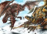 hector_herrera monster_hunter mountain rathalos snow tigrex