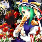asymmetrical_hair bad_id bust floral_background flower green_eyes green_hair hands hat lips looking_at_viewer rod_of_remorse shikieiki_yamaxanadu short_hair smile solo spider_lily touhou yutazou
