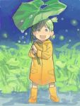 1girl :d bad_id child green_eyes green_hair icym koiwai_yotsuba leaf open_mouth quad_tails rain raincoat smile solo wellingtons yotsubato!