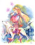 flute geta hakama hamachi-kuchiba instrument japanese_clothes long_hair okami ookami_(game) signature smile traditional_media ushiwakamaru watercolor_(medium) wolf