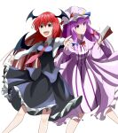 2girls :/ \||/ bangs black_skirt black_vest blue_bow blush book bow commentary_request crescent crescent_hat_ornament demon_wings dress eyebrows_visible_through_hair frilled_skirt frills hair_bow hat hat_ornament head_wings highres holding holding_book koakuma long_hair long_sleeves looking_at_viewer medium_hair mob_cap multiple_girls necktie open_mouth outstretched_arm patchouli_knowledge po_(anhk5528) purple_hair red_bow red_eyes red_neckwear redhead sidelocks simple_background skirt standing striped striped_dress touhou vest violet_eyes white_background wings