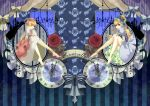 2girls barefoot blonde_hair blue_rose book bow bows cinderella cinderella_(grimm) clock dress dual_persona fairy_tale flower hair_flower hair_ornament hal_(suck_it) long_hair multiple_girls rose sitting