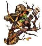 belt blonde_hair boots bow braid brown_eyes cloak dragon's_crown dragon's_crown elf elf_(dragon's_crown) elf_(dragon's_crown) george_kamitani gloves highres leaf long_hair official_art pointy_ears pose quiver shorts thick_thighs thighs tree vanillaware weapon