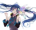 aqua_eyes blue_hair detached_sleeves flower hatsune_miku headphones headphones_around_neck saikawa_(0902k137) solo twintails vocaloid wings