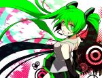 green_eyes green_hair grin hakka_(hakkakka) hatsune_miku hirococo_(hakka) long_hair necktie skirt smile solo symbol-shaped_pupils twintails very_long_hair vocaloid