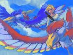 bangs bird blonde_hair cloud dress flying hair_ornament hair_ribbon link loftwing long_hair nintendo penta5 pink_dress pointy_ears princess_zelda ribbon short_hair sky skyward_sword smile sword the_legend_of_zelda wallpaper weapon