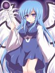 angel blue_dress blue_hair breasts dress jewelry long_hair necklace purple_eyes ry sariel solo staff touhou violet_eyes wings
