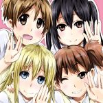 black_hair blonde_hair blue_eyes hirasawa_ui k-on! multiple_girls nakano_azusa nukunuku saitou_sumire school_uniform suzuki_jun vulcan_salute