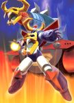 battleship daiku_maryu daikuu_maryuu epic fire gaiking gaiking_(dmg) hands highres hiro_(hibikigaro) mecha no_humans oldschool super_robot