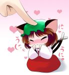 :3 animal_ears blush brown_hair cat_ears catgirl chen chibi closed_eyes dress eyes_closed hand_on_cheek hands_on_own_cheeks hands_on_own_face hat heart highres minigirl multiple_tails nekomata nekomimi pet_the_catgirl petting poke red_dress short_hair solo tail touhou yume_shokunin