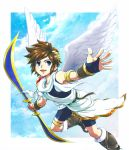 angel_wings arm_band arm_guard arm_guards armband belt bike_shorts blade blue_eyes boots bow_(weapon) boy bracelet brown_hair cloud clouds flying gloves happy high_boots hikari_shinwa:_parutena_no_kagami jewelry kid_icarus knee_boots male nintendo open_mouth outstretched_hand pit pit_(kid_icarus) shoulder_guard sky solo tepra thigh_strap tunic weapon wings wreath