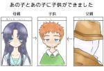 asakura_ryouko blue_eyes child crossover dc_comics hat if_they_mated m.u.g.e.n mask mugen_(game) nakenashi rorschach school_uniform suzumiya_haruhi_no_yuuutsu translated translation_request trench_coat watchmen