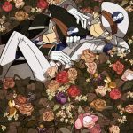 black_rose black_rose_(flower) brown_rose de flower hat highres kudari_(pokemon) multiple_boys nobori_(pokemon) pink_rose pokemon pokemon_(game) purple_rose red_rose rose sleeping