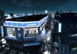 air_conditioner city city_lights cityscape convenience_store highres kurono-kuro lawson male night original power_lines scenery shop short_hair train