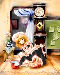 bucket carpet clock curtains dress flower grandfather_clock key maid no_hat no_headwear notes oota_jun'ya oota_jun'ya original painting rug shoes short_hair smile socks solo stool touhou vase witch