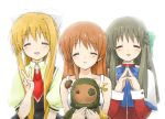 3girls black_hair blonde_hair brown_hair clannad closed_eyes company_connection crossover eyes_closed garbage_doll girl_from_the_illusionary_world kamio_misuzu kanon kawakami_tomoko key_(company) kurata_sayuri long_hair multiple_girls seiyuu_connection seiyuu_joke smile taka-shiro v