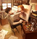 artist brown_hair canvas canvas_(object) closed_eyes easel eyes_closed face hands incipient_hug incoming_hug long_hair mikihisa415 open_mouth orange_hair original outstretched_arms paint paintbrush palette short_hair sitting sprout stool surreal through_screen window