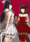 bare_shoulders black_hair blue_eyes character_request feather_boa gloves glowing glowing_eyes hair_ornament lips m874 rwby skirt thighhighs
